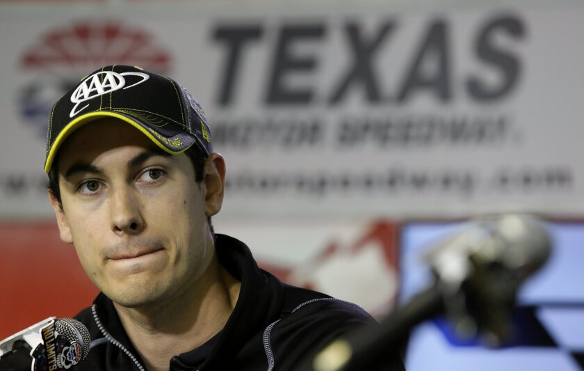 Joey Logano listens to a question before a NSACAR Sprint Cup auto race practice at Texas Motor Speedway Friday, Nov. 6, 2015, in  Fort Worth, Texas. Logano's championship hopes took a significant blow when he was intentionally wrecked by Matt Kenseth. Logano goes to Texas last among the eight drive