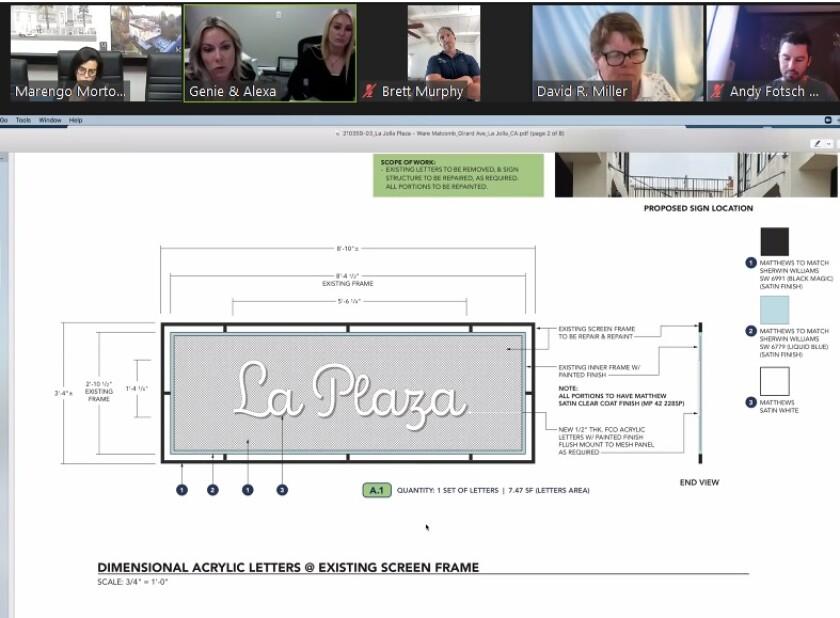 Regents Property Management representatives present renderings of new signage planned for La Plaza La Jolla.