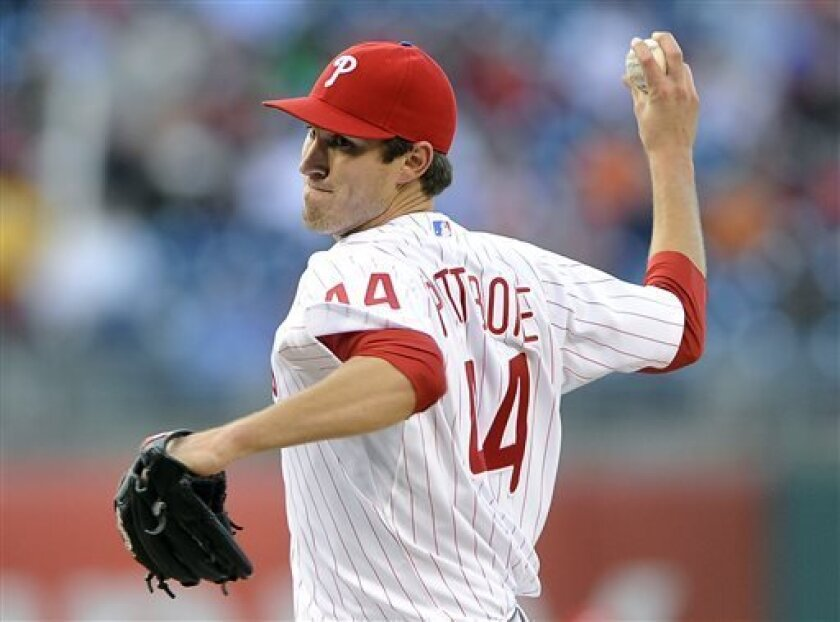 Philadelphia Phillies' Jonathan Pettibone throws a pitch in the first inning of a baseball game against the Miami Marlins, Friday, May 3, 2013, in Philadelphia. (AP Photo/Michael Perez)