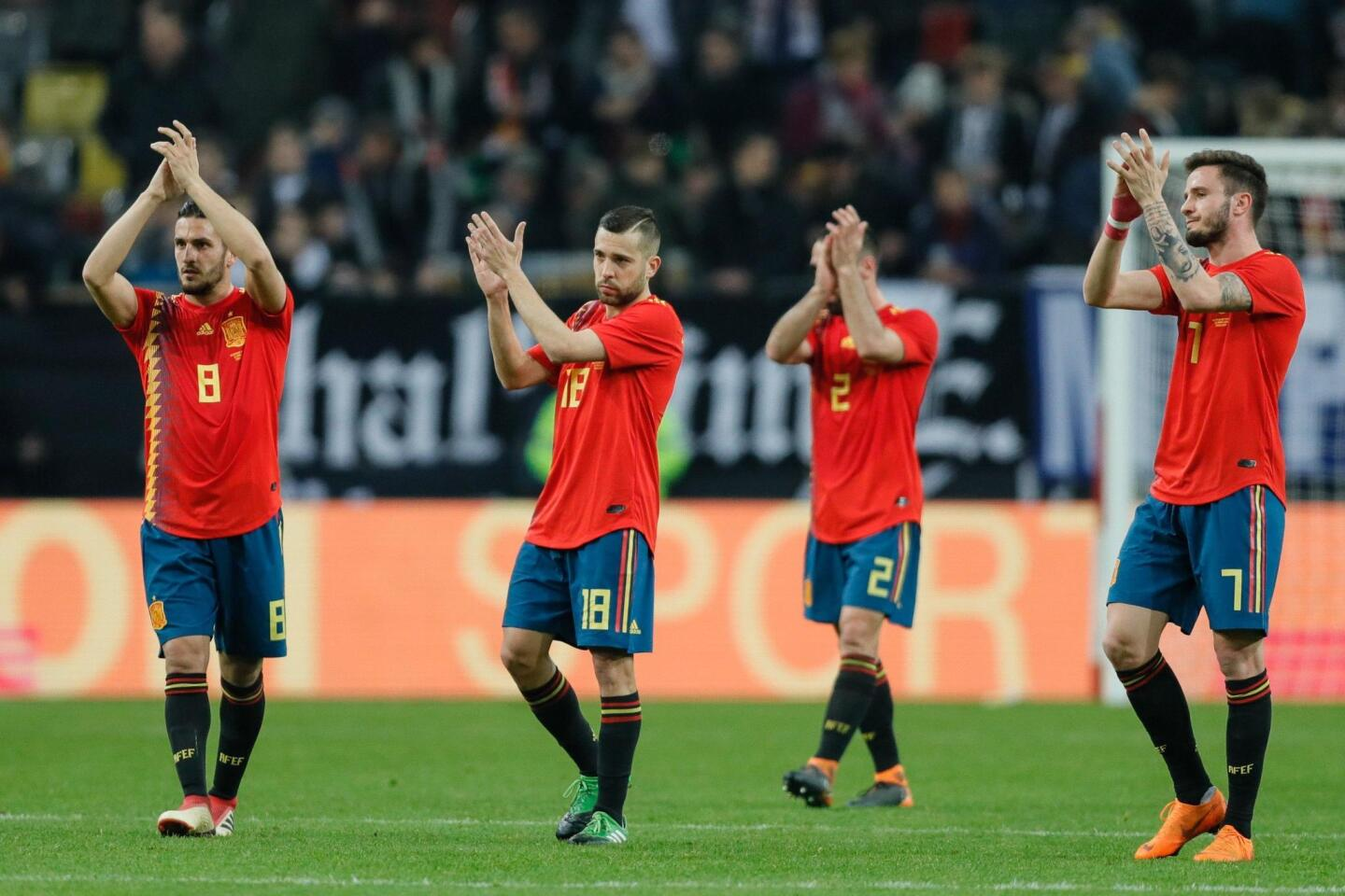 Duesseldorf (Germany), 23/03/2018.- (L-R) Spain's Koke, Jordi Alba, Daniel Carvajal and Saukl Niguez react after the international friendly soccer match between Germany and Spain in Duesseldorf, Germany, 23 March 2018. (España, Futbol, Amistoso, Alemania) EFE/EPA/RONALD WITTEK ** Usable by HOY and SD Only **