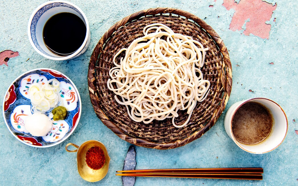 Chilled soba noodles with dipping sauces.