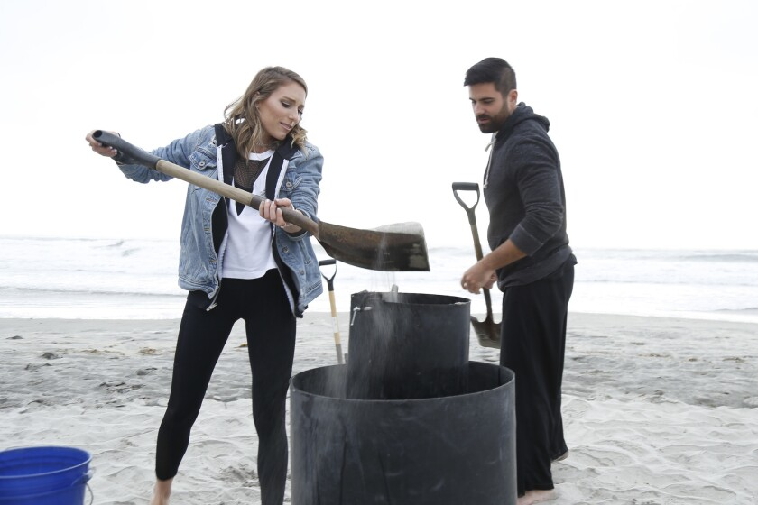 Brooke and Seth making a sand castle