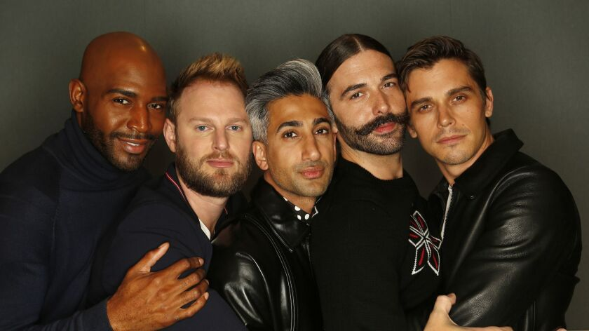 "LOS ANGELES, CA – May 10, 2018: the new ""Queer Eye for the Straight Guy"" team -- Karamo Brown, Bob"