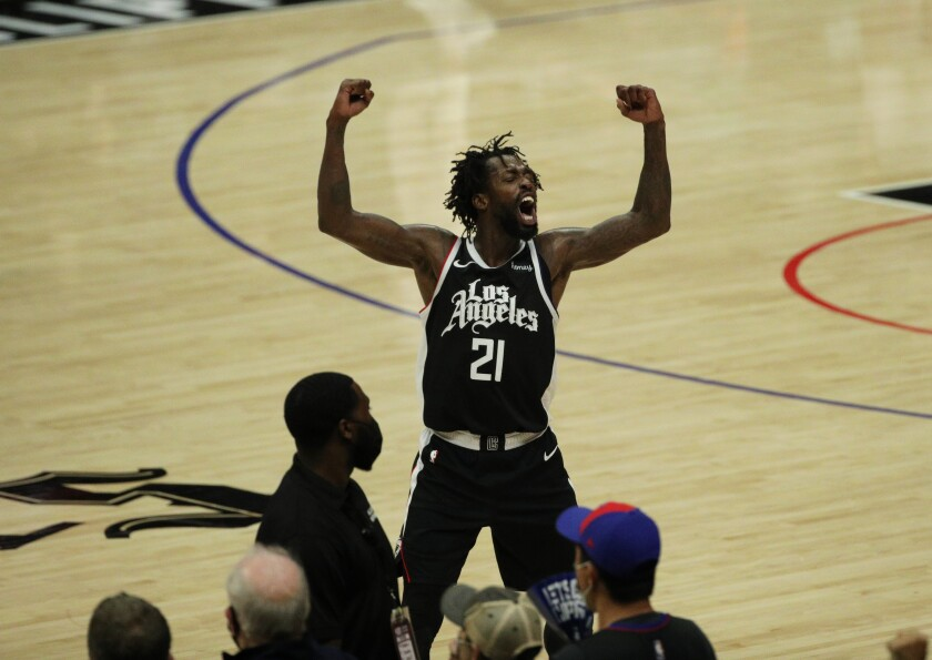 Clippers guard Patrick Beverley celebrates during a 131-119 victory over the Utah Jazz.
