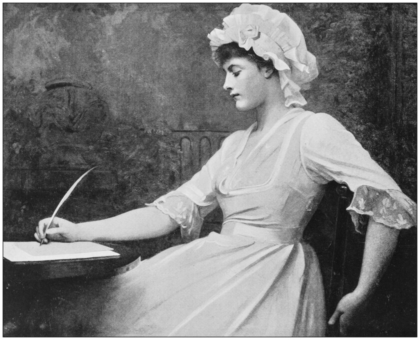 Antique dotprinted photo of painting of a woman writing.