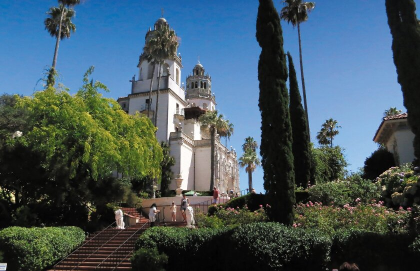 "Hearst Castle, which Hearst called ""La Cuesta Encantada"" (""The Enchanted Hill""), has views to the Pacific Ocean."