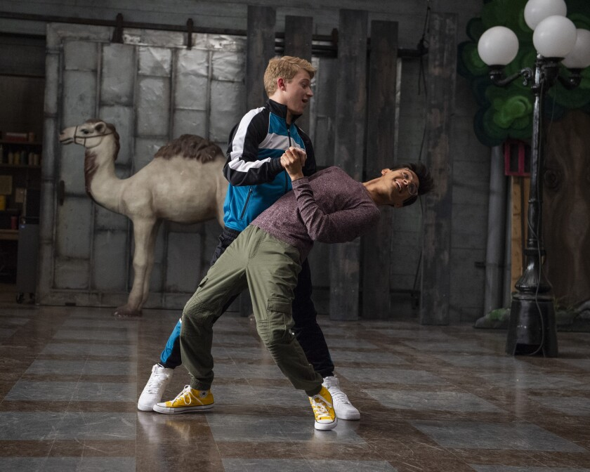 """Joe Serafini, left, and Frankie A. Rodriguez rehearse a dance number in """"High School Musical: The Musical: The Series."""""""