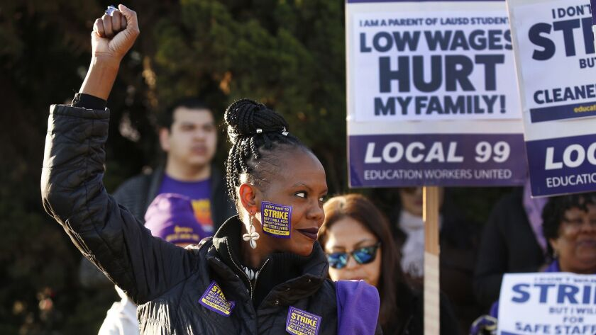 LOS ANGELES, CA - FEBRUARY 26, 2018: LAUSD School bus driver Tanya Walters, joins school workers at