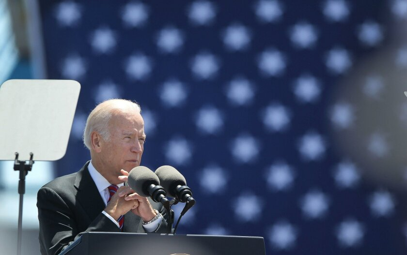 Vice President Joe Biden traveled to the Unified Port of San Diego, Maritime Building on Tenth Avenue and delivered remarks on trade enforcement Wednesday afternoon.