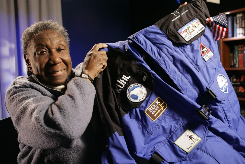 Barbara Hillary shows the parka she wore on her trip to the North Pole, during a 2007 interview.