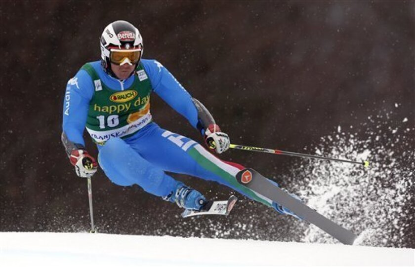 Italy's Massimiliano Blardone  competes during an alpine ski, men's World Cup giant slalom, in Kranjska Gora, Slovenia, Saturday, March 9, 2013. (AP Photo/Shinichiro Tanaka)