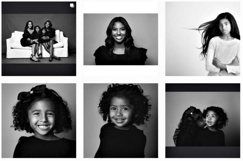 A collage of photos that Vanessa Bryant posted on social media of herself and daughters for Christmas.
