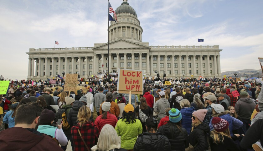 Supporters rally Saturday in Salt Lake City to protest the Trump administration's plans to shrink two national monuments -- Bears Ears and Grand Staircase-Escalante -- in Utah.