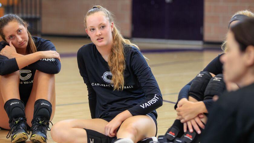 SAN DIEGO, CA August 29th, 2017 | Carlsbad High School volleyball player Mackenzie Karnig practices