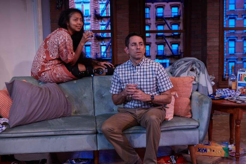 """Leilani Smith and Christopher M. Williams in North Coast Repertory Theatre's """"Dancing Lessons."""""""
