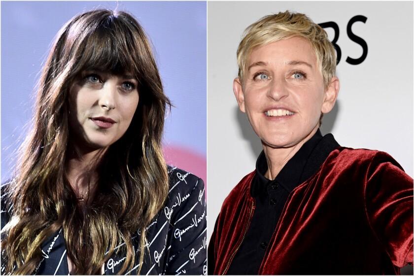 Headshots of Dakota Johnson and Ellen DeGeneres