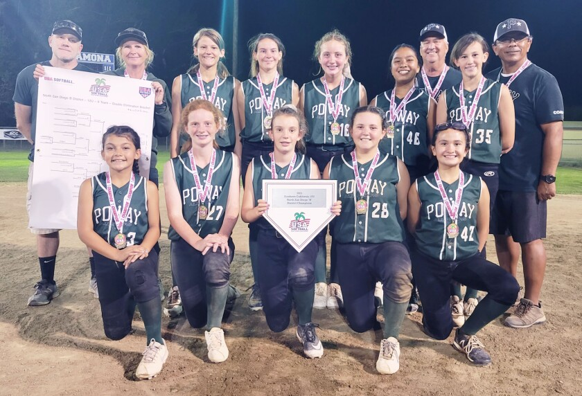 """The Poway 12U Gold team after winning the North San Diego """"B"""" District Championship."""