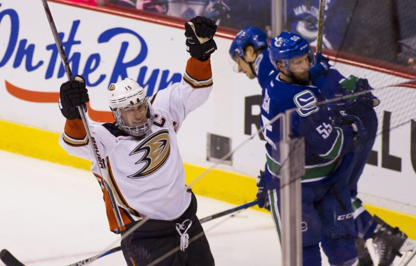 Anaheim Ducks' Ryan Getzlaf (15) celebrates his goal against the Vancouver Canucks during the third period of an NHL hockey game Thursday, Feb. 18, 2016, in Vancouver, British Columbia. (Ben Nelms/The Canadian Press via AP)