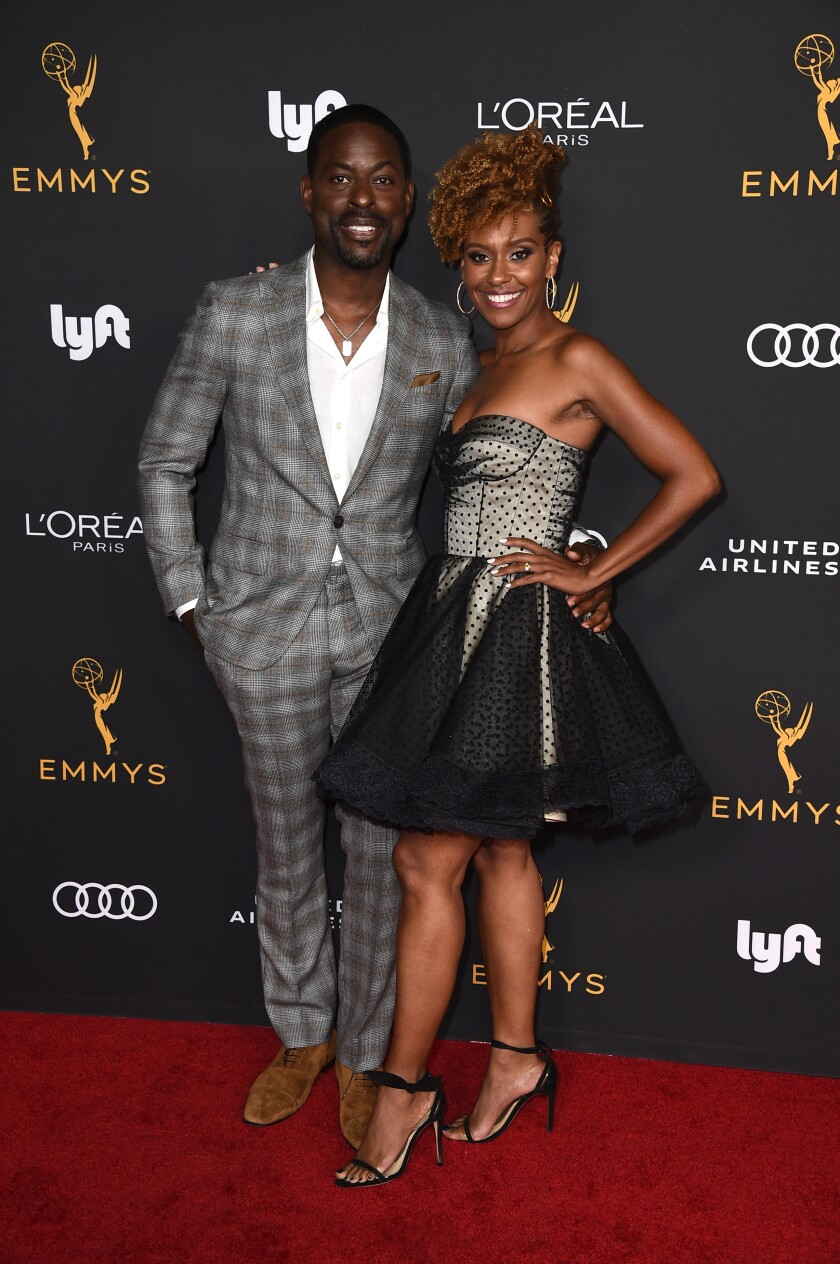 Emmy nominee Sterling K. Brown, left, and Ryan Michelle Bathe at the 2019 Performers Nominee Reception.