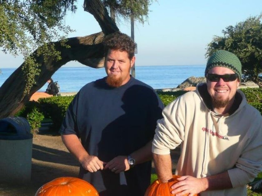 Participants prepare for the contest during last year's underwater pumpkin carving event. Photo courtesy Oceans Institute