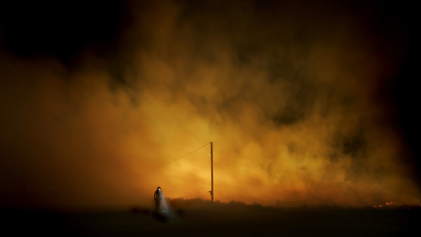 A Chula Vista firefighter walks away from the Harris fire in San Diego County in October. Scientists worry that native coastal sage and chaparral may be replaced by invasive grasses in areas that burned in 2003 and again last year.