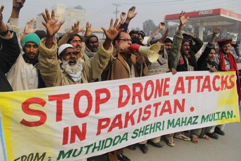 Drone strikes by the U.S. have angered many Pakistanis. In January, demonstrators in the city of Multan protested against a U.S. drone attack.