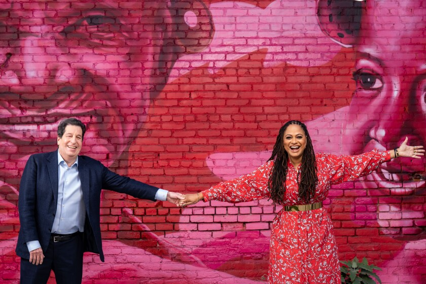 Outgoing Warner Bros. Television Chairman Peter Roth and filmmaker Ava DuVernay at Array.