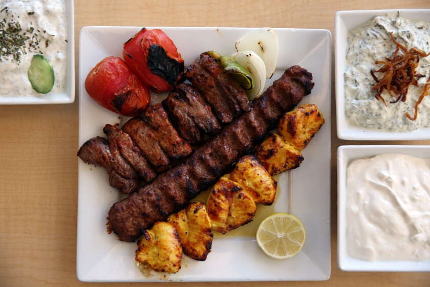 The Tehran Plate special, with chicken, beef and filet mignon kebobs, at Taste of Tehran in Westwood.