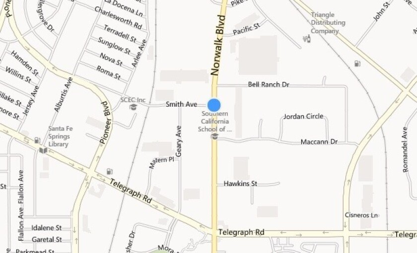 A map shows the approximate location where a driver crashed head-on into a light pole Thursday morning, splitting the car in two. He died at the scene.
