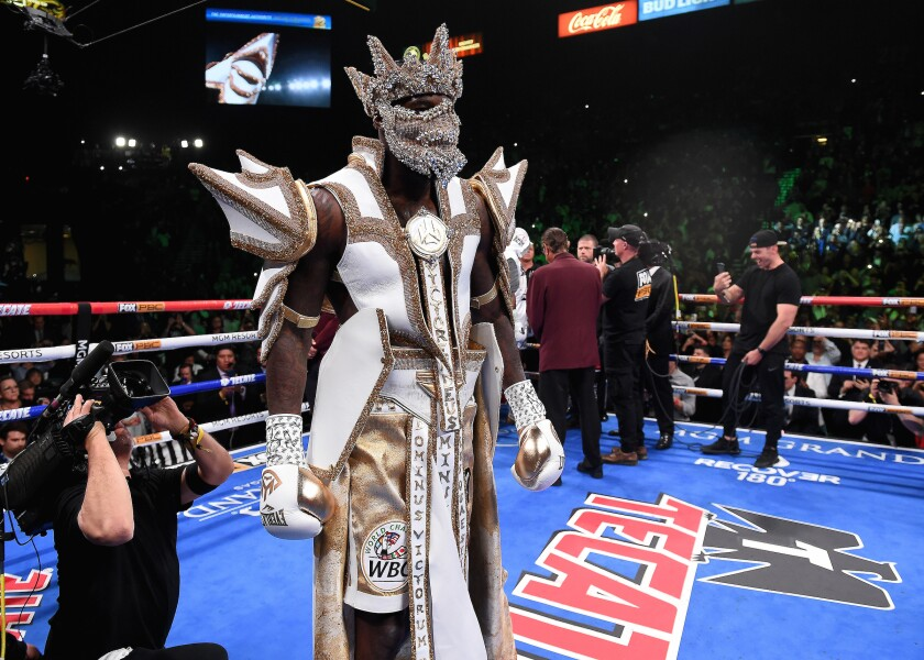 Deontay Wilder shows off the most recent iteration of his costume, created by Cosmos Glamsquad, for his rematch against Luis Ortiz in November 2019.