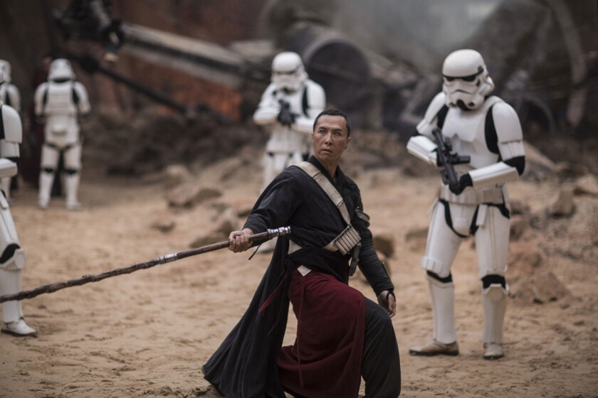 "Donnie Yen portrays martial-arts-fighting, Force-sensitive monk Chirrut Imwe in ""Rogue One: A Star Wars Story."""