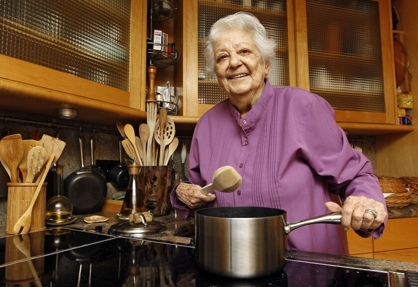 Chef Marcella Hazan in the kitchen of her Longboat Key, Fla., home. Hazan, the Italian-born cookbook author who taught generations of Americans how to create simple, fresh Italian food, died Sunday at her home.
