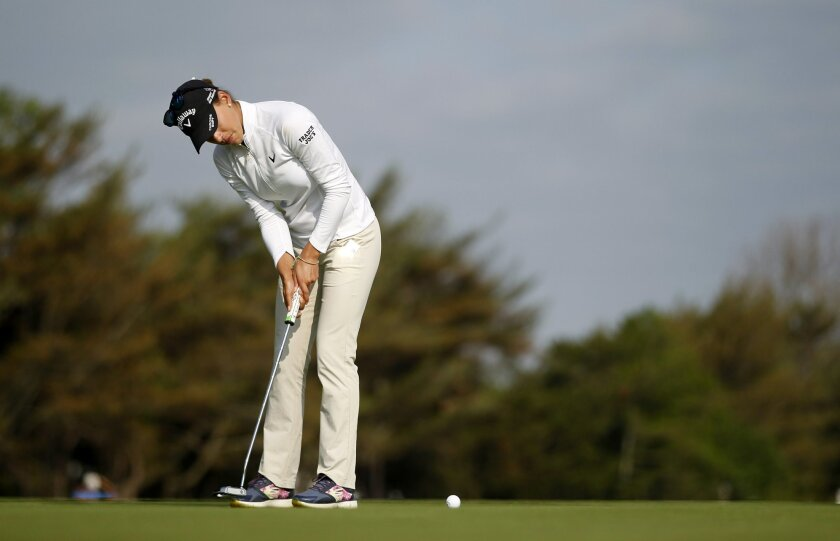 Belen Mozo, of Spain, putts on the first hole during the second round of the ShopRite LPGA Classic golf tournament, Saturday, June 4, 2016, in Galloway Township, N.J. Mozo withdrew after nine holes with an injury. (AP Photo/Mel Evans)