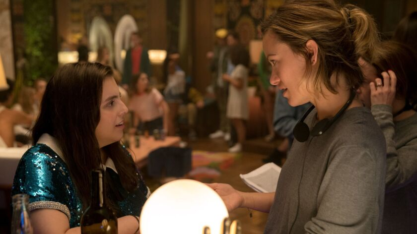 BS_00965_RC Actor Beanie Feldstein and director Olivia Wilde on the set of her directorial debut, BO