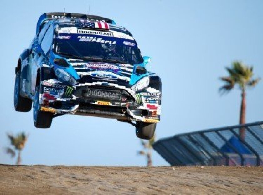Ken Block flying over the jump
