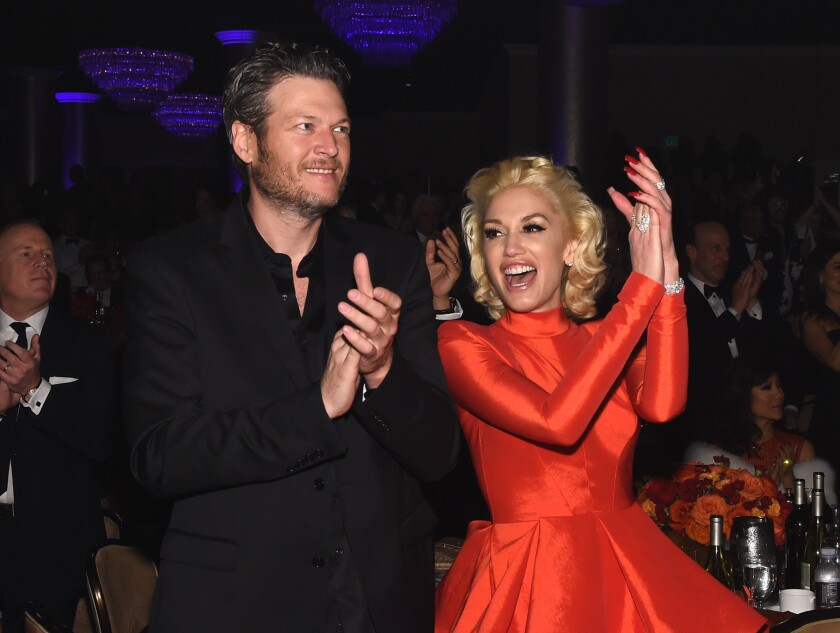 Blake Shelton and Gwen Stefani at Clive Davis' pre-Grammy Gala at the Beverly Hilton Hotel on Feb.14, 2016.
