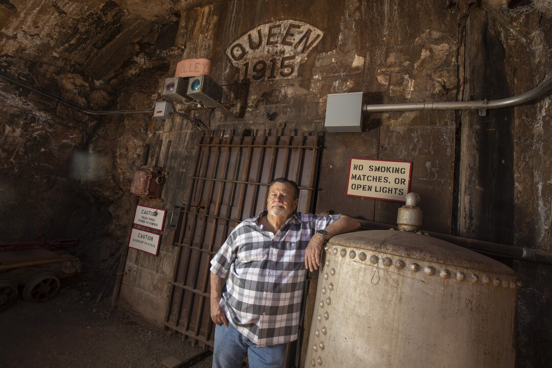 Bisbee Mayor David Smith stands near the entrance of the Queen Mine.