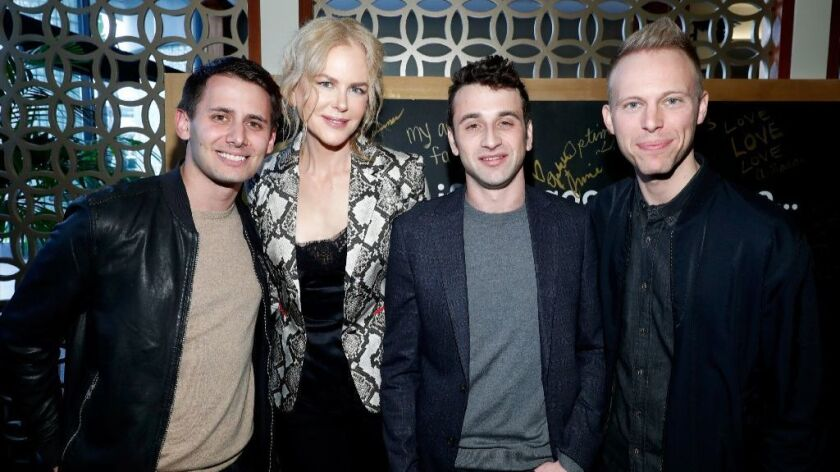 From left: Composer Benj Pasek, actress Nicole Kidman and composers Justin Hurwitz and Justin Paul attend the Gold Meets Golden event at Equinox on Jan. 7 in Los Angeles.