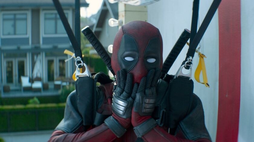 "Ryan Reynolds in a scene from the movie ""Deadpool 2."""