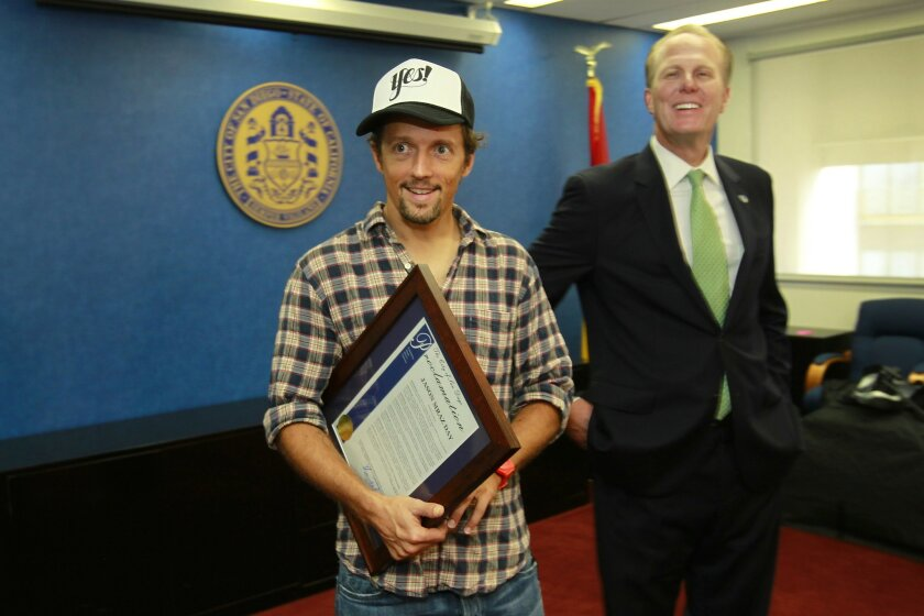 San Diego Mayor Kevin Faulconer declared Tuesday, August 19th Jason Mraz Day, during a presentation at the Mayor's office.