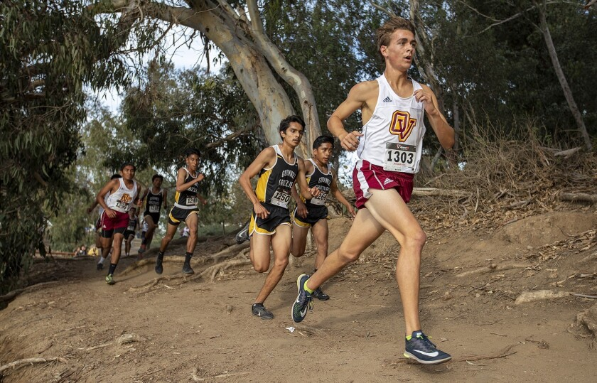 Ocean View's Jason St. Pierre runs near the front of the pack during the Golden West League cross-co
