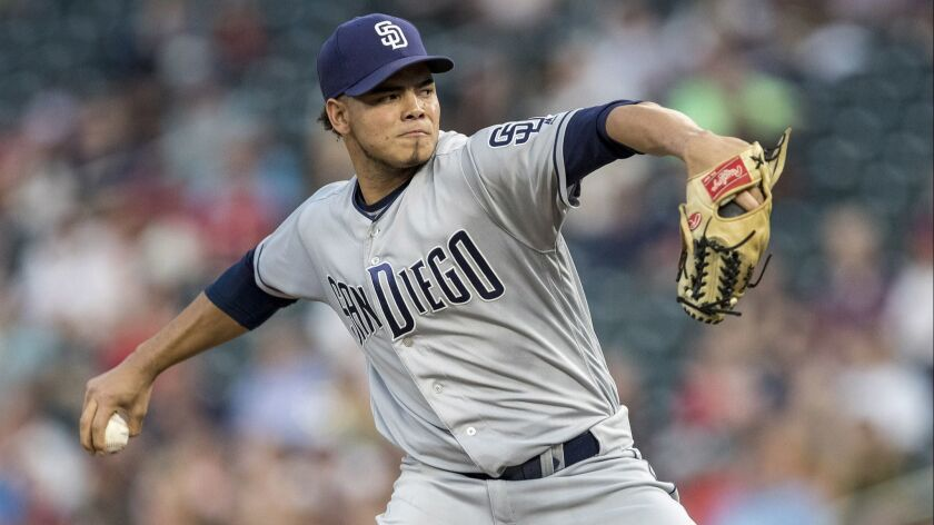 Padres starting pitcher Dinelson Lamet pitches last season against the Minnesota Twins.