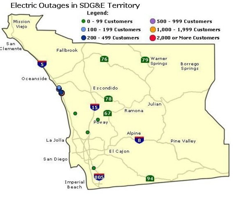 Carlsbad, La Costa hit by major power outage - The San go ... on xcel energy power outage map, pepco power outage map, pse power outage map, ppl power outage map, puget sound energy power outage map, smud power outage map, dte power outage map, aps power outage map, psnh power outage map, pg&e power outage map, austin energy power outage map, avista power outage map,