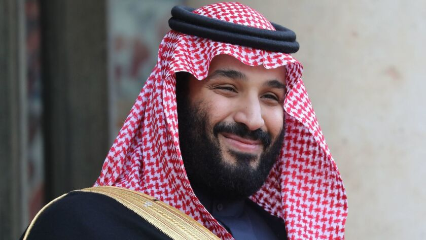Saudi Arabia's Crown Prince Mohammed bin Salman arrives at the Elysee Presidential palace on April 10 in Paris.