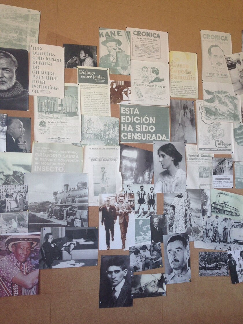 Garcia Marquez's office wall, recreated at the Caribbean museum in Barranquilla