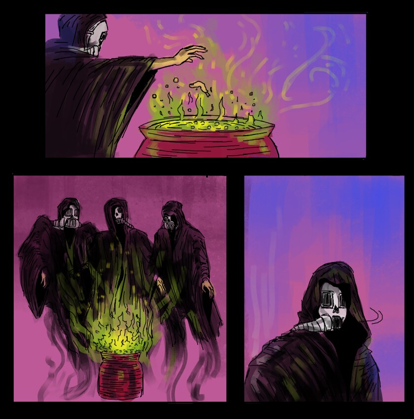 """An image from Shakespeare Center LA's """"Macbeth: A Virtual Live-Action Graphic Novel."""""""