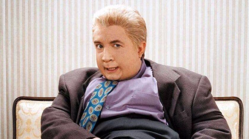 "Martin Short strikes a pose in his role as Jiminy Glick in Comedy Central's ""Primetime Glick, "" in t"