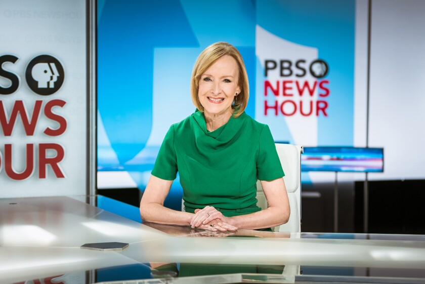 "Judy Woodruff on the ""PBS NewsHour"" set."