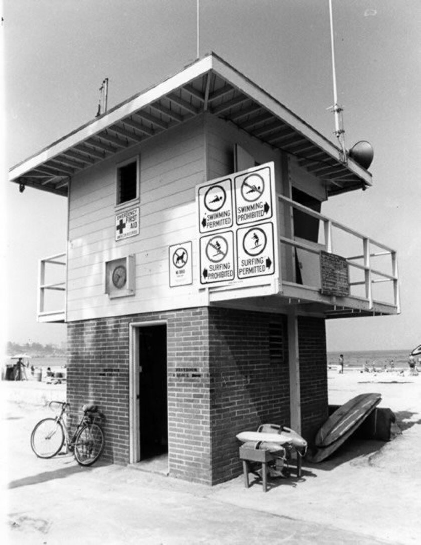 In the 1970s, La Jolla Shores' lifeguard tower was a two-story lookout with equipment kept nearby and signage indicating surf and swim areas. Courtesy of Nick Lerma