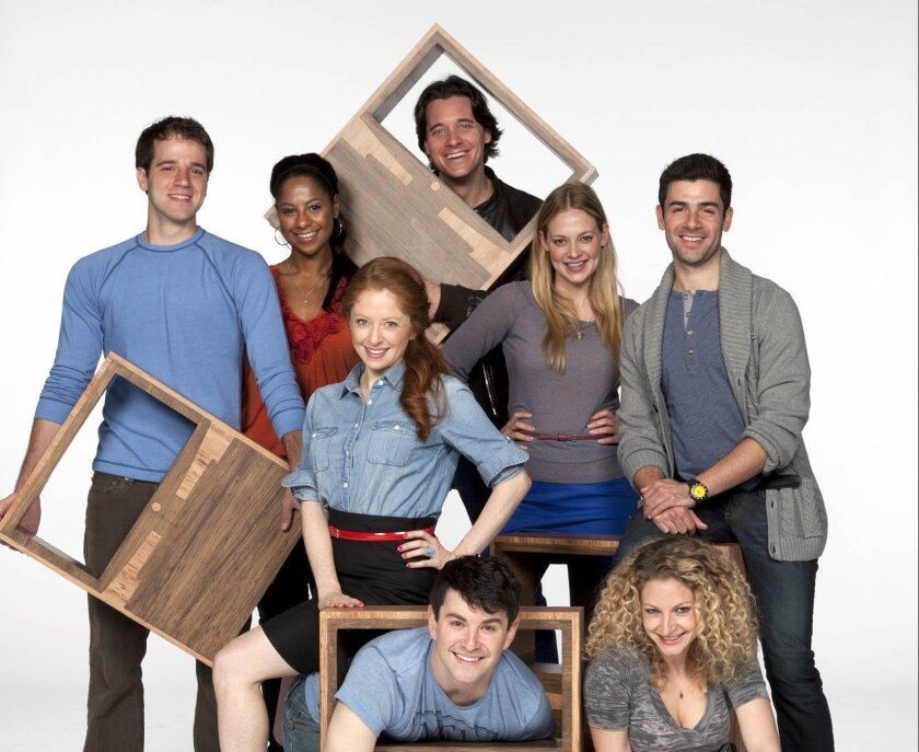 The 'Nobody Loves You' cast includes Kelsey Kurz, Nicole Lewis, Kate Morgan Chadwick, Heath Calvert, Jenni Barber, Adam Kantor (and on floor, from left) Alex Brightman and Lauren Molina. Henry DiRocco